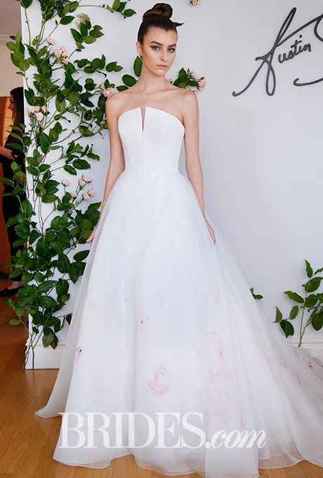 "Brides.com: . ""Mayfair"" hand-painted silk-organza ballgown with strapless silk bodice, notched décolletage, and natural waist, Austin Scarlett"
