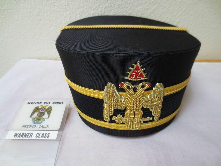 32nd Degree FREEMASONRY MASONIC CAP, Warner Class, Badge, Fresno, Scottish Rite