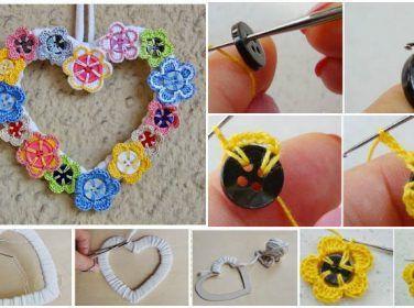 Çiçek Motifleri İle Kalpli Kapı Süsü Yapımı – Örgü Çiçek Motifi Yapımı