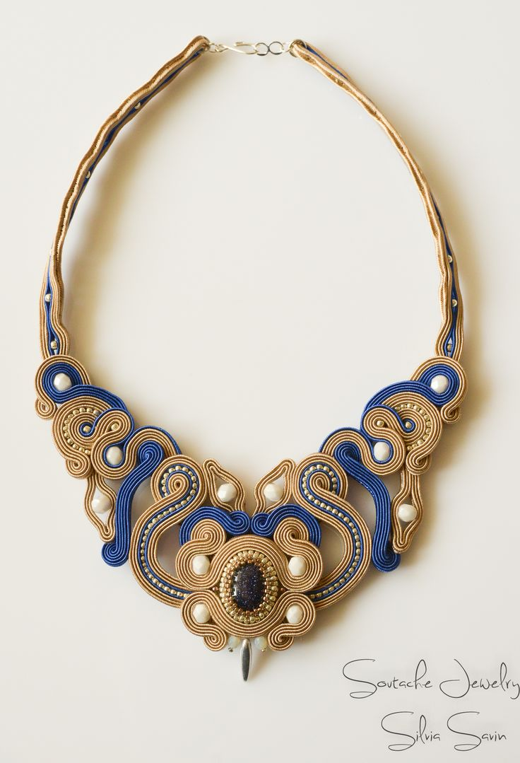 Blue and Beige Handmade Soutache necklace