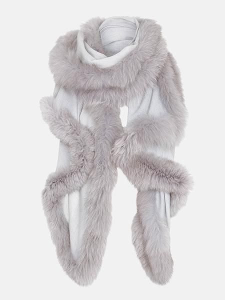 Hayley Menzies Chelsea Lightweight - grey cashmere fur shawl - grey fur trim wrap - silver fur scarf