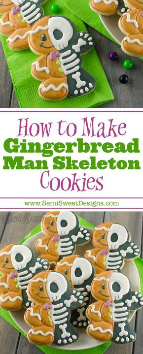 How to Make Gingerbread Man Skeleton Cookies by Semi Sweet Designs