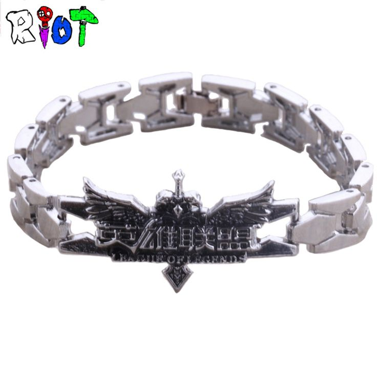 League of Heroes chinese logo Zinc Alloy Bracelets LOL men jewelry Silver Bangle pulseira masculina Cosplay Accessories bracelet