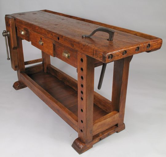 French Country Style Carpenter's Workbench This rustic Carpenter's Workbench (Etabli) is dated 1916 with the initials G.A. It's made of a...: