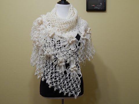 Chal con Flores Crochet parte 1 de 2 - YouTube