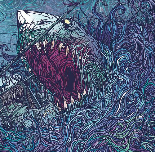 Shark Belly By London based designer Dan Mumford. He's produced some really fluid prints and appeal showcasing his career as a freelance illustrator, designer and screen printer.