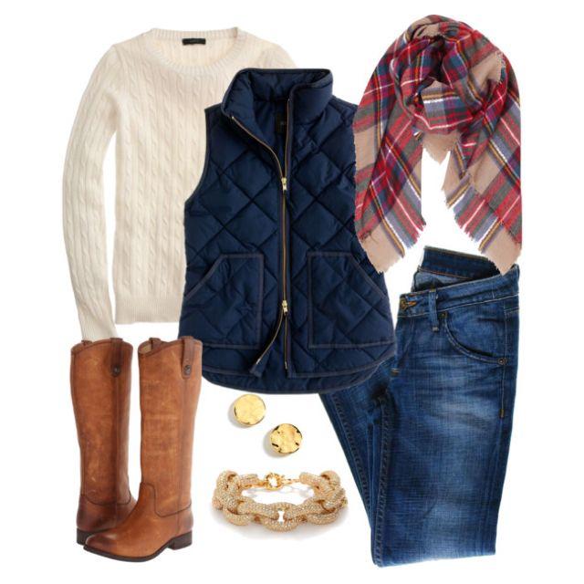 Gingham shirt, Preppy outfits, Preppy, preppy Clothes, J.Crew, winter outfits, women's clothing, jcrew puffer vest, preppy plaid, plaid scarf, tartan