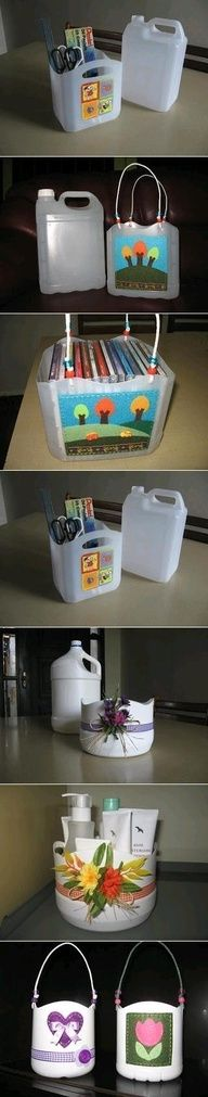 DIY plastic bottle baskets. Surprised that they dont have gallon milk jugs on here.