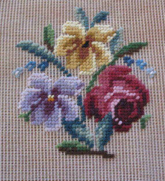 Vintage pre-worked needlepoint. Flowers. by LegacyTextileCrafts