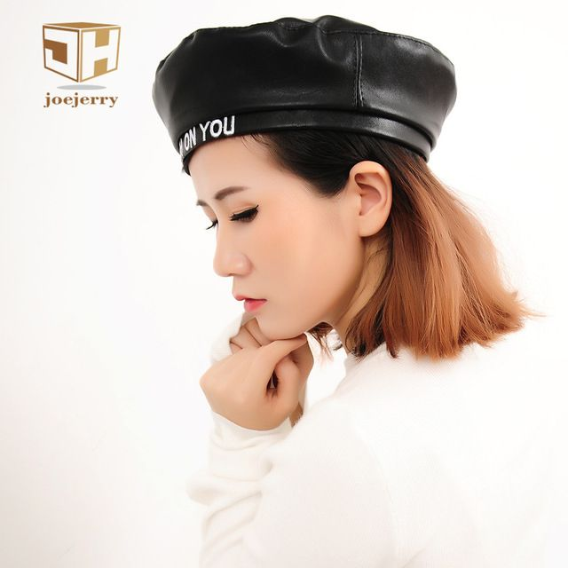 Flash Sale $8.10, Buy Joejerry Fashion Felt Pu Leather Beret Hat Women Cap Female Ladies Beanie Beret Girls For Spring And Autumn