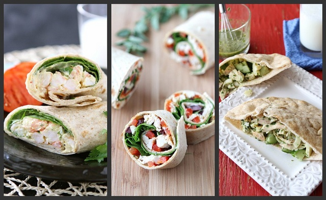 Sandwiches and Wraps - Curry Shrimp Salad with spinach ; chicken pinwheels with roasted red pepper, kalamata olives and herb yogurt