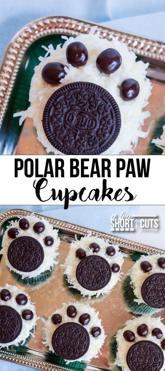 Polar Bear Paw Cupcakes Recipe #NormOfTheNorth | Kitchen Vista's