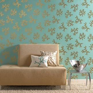 Brewster Home gold coral wallpaper is perfect for giving a seaside home some sparkle.