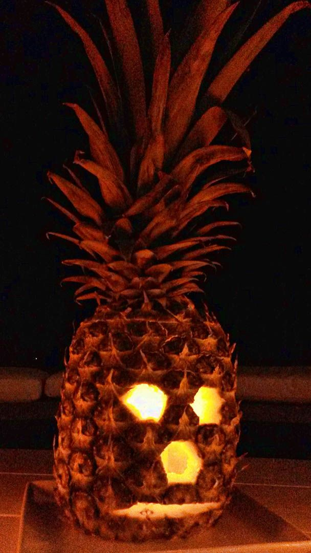 Trick or Treat? Halloween Jack O' Lantern Caribbean style. Pineapple, gives a nice orange glow