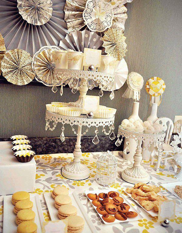 A Romantic Yellow & Gray Dessert Table