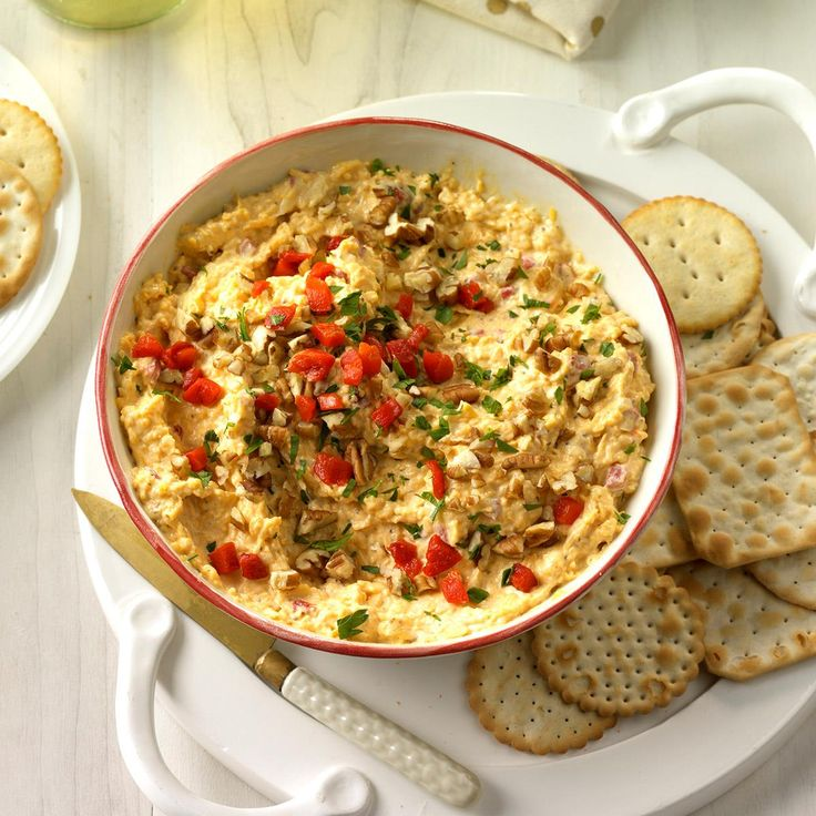 """Spruced-Up Cheese Spread- """"Our 10 BEST Holiday Appetizers"""" hmmm *A* This zippy cracker spread is easy to shape into a Christmas tree for a festive occasion. —Judy Grimes, Brandon, Mississippi"""