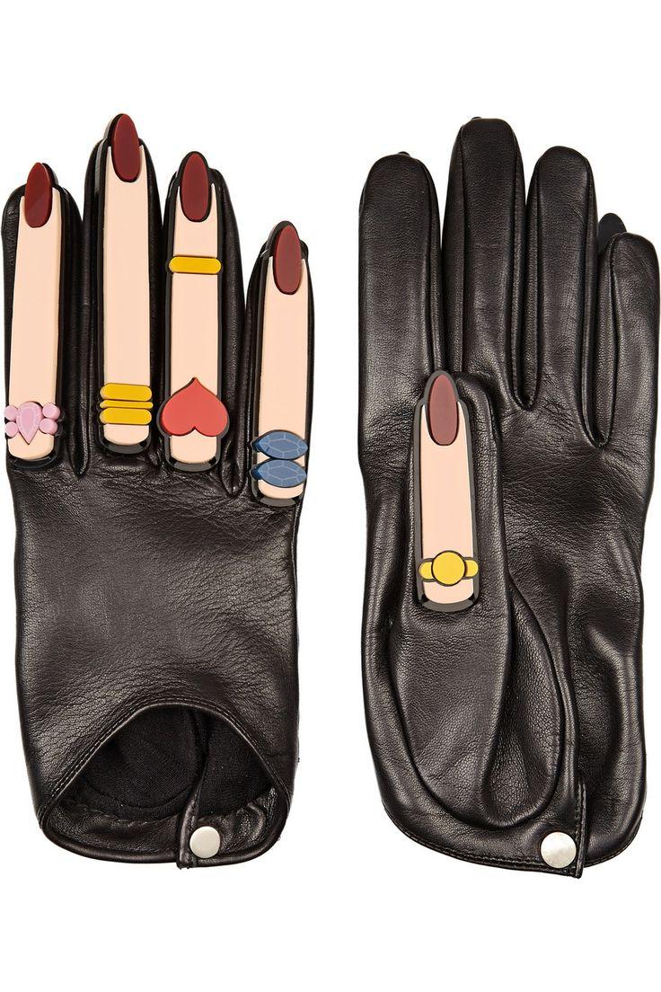 Black leather cut off gloves - Finds Yazbukey X Causse Gantier Plexiglas Embellished Leather Gloves Net