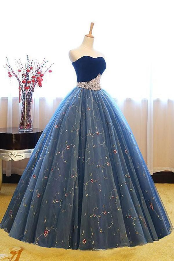 93d54d8abd08 Navy Blue Ball Gown Sweetheart Sleeveless Lace Up Pearl Appliques Prom Dress ,Formal Dress