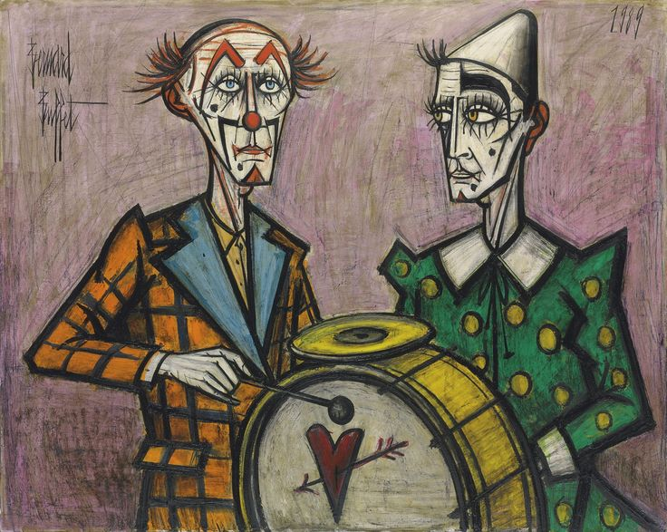Post-war paintings of a personal world of angst.With thick, abrasive black lines, Bernard Buffet's paintings appear as though they have been scratched and clawed onto canvas. Born in Paris in 1928, the expressionist artist created figurative works that illustrated the bleak and opaque sides of human