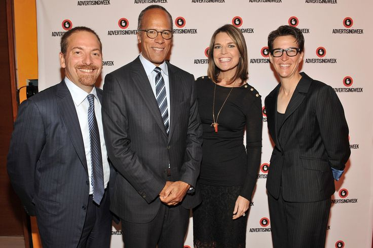 #AWXII - Advertising Week: (L-R) NBC News Political Director and Moderator of Meet the Press NBC News Chuck Todd, Anchor of NBC Nightly News and Dateline Lester Holt, Co-Anchor of Today and NBC News Chief Legal Correspondent NBC News Savannah Guthrie, and Host of The Rachel Maddow Show MSNBC Rachel Maddow pose at the Road to the 2016 Election: A Campaign Preview