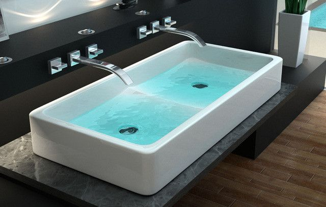 91 best images about bathroom on pinterest soaking tubs home design and tub shower combo - Lavabo bagno doppio ...
