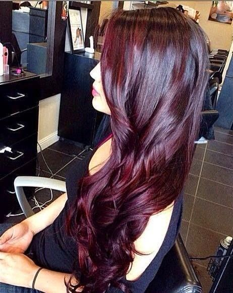 Long dark purple hair,love her color and hairstyle