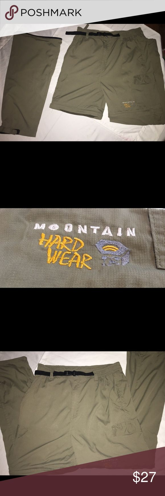 Mountain Hardwear  pants unzip to shorts size LG These are the best hiking pants you can find.  Generous Limited lifetime warranty.  Size large but measures 30WX29L These have an elastic waist, numerous deep pockets, and velcro closures on the cuffs. There are a few tiny spots on the pants that are quite unnoticeable unless you are really searching for blemishes.   The best part of  these pants is the zip off  to shorts feature! Mountain Hardwear Pants