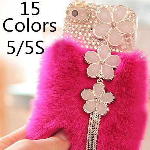 Новый 2015 100% реальный Мех Кролика Чехол Для iPhone 5S Мода роскошный Дизайн Моды Чехол Для iPhone 5 Крышка, 1 Шт. Бесплатная Доставка
