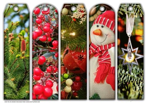 JJ ASSORTED BOOKMARKS CHRISTMAS HOLIDAYS 2 by Joy Jerome another a4 sheet with five assorted bookmarks with a Christmas holidays theme Just print and cut.