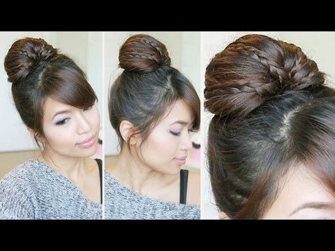 Thumbs up if you likey ♥ Learn how to do more cute hairstyles: http://www.youtube.com/playlist?list=PLD4D5DE6CCCF00AF4  Hey guys, in this tutorial I will show you how to do an easy braided fan out bun that's perfect for work, school, proms, weddings, parties, and more. This hairstyle was inspired by one of my other works called Wrap-Around Hair B...