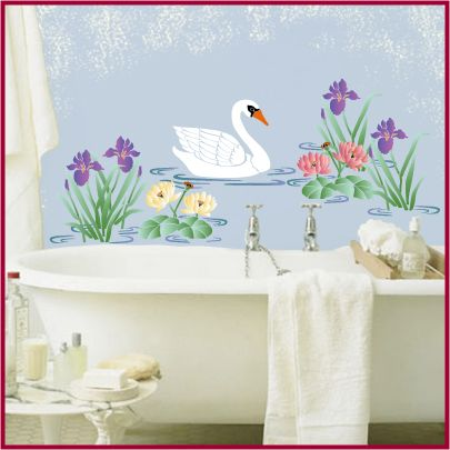 our swan stencil is a lovely stencil to use as part of a mural or on its own the artful stencil