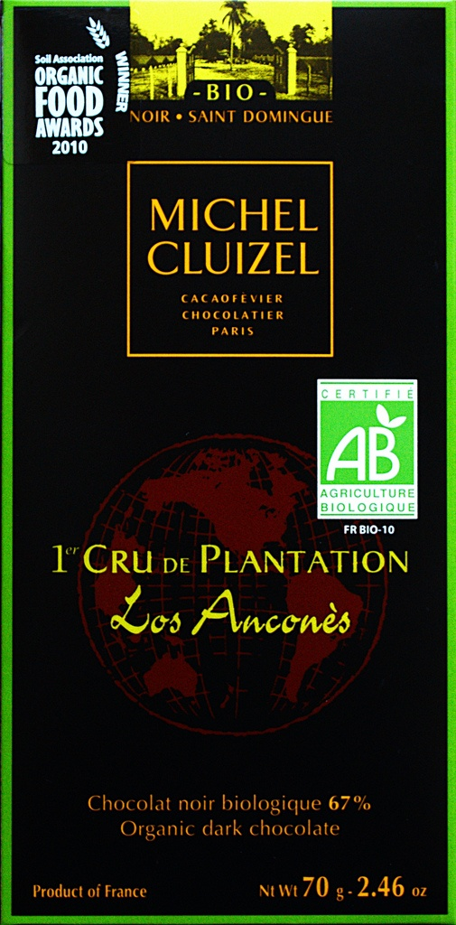 Gold award winner in the dark plain/origin bars category in the European semi-finals of the International Chocolate Awards 2012 -  Chocolatier Michel Cluizel – Los Anconès Bio