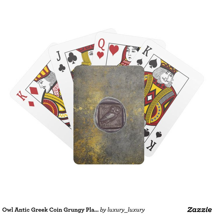 Owl Antic Greek Coin Grungy Playing Cards
