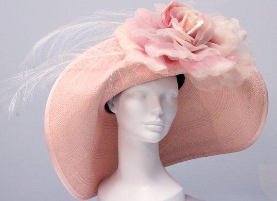 Pink Panama Straw Women's Kentucky Derby Hat, Women's Summer Hat on Etsy, $365.00