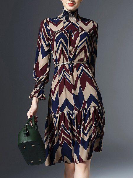 Chiffon #Midi #Dress with Belt