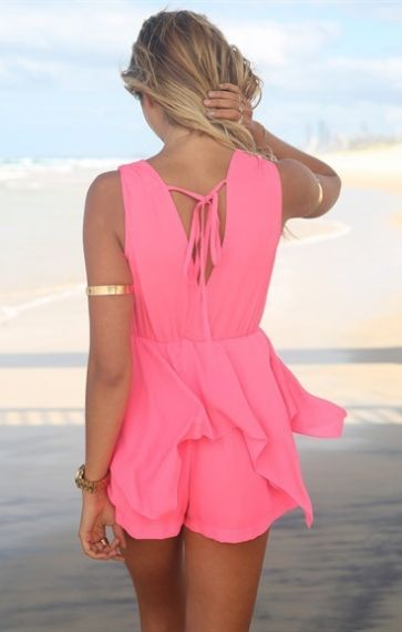 Love the Ribbons on the Back! So CUTE! Hot Pink Deep V-neck Sleeveless Beach Jumpsuit, beach cover up, beach wear, cover up swimwear, summertime