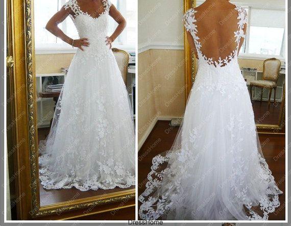 A line open back lace wedding dress cheap lace bridal for Lace open back wedding dresses