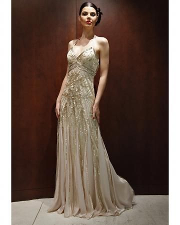gold/beaded wedding dress by  Sue Wong. For some reason I could not pin things from her website...it's worth a visit...it's a visual feast of everything vintage, lace, beads, fringe, feathers, stunning, and gorgeous!!