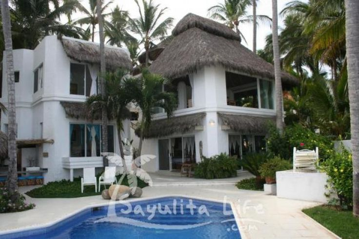Sayulita Life - Casa Blanca Main House vacation rental in Sayulita Mexico Has a heated pool right on the edge of the beach!