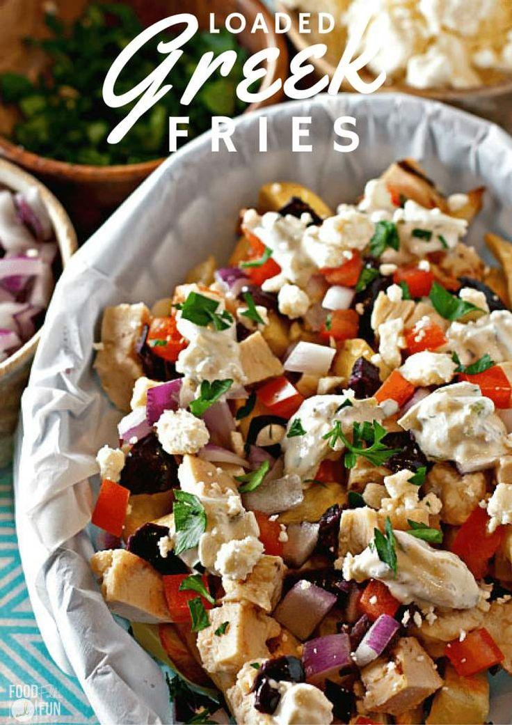 Deze geladen Griekse frietjes recept is perfect voor doordeweekse avond maaltijden of spel dag eet!  Deze frieten zijn groot op smaak!