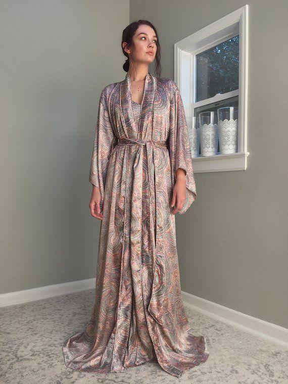 f1a7cb57db Long satin paisley robe with double piping detail. Floor length paisley robe  for tall women  Bohemiankimono  Bohobride  paisleykimono  paisleyrobe ...
