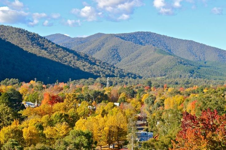 Bright Victoria : View from Hargreaves Road, Bright in Autumn : Alpine Valley Getaways