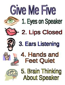 This a poster I have on the front board the entire school year. I introduce Give Me Five at the beginning of the year. We practice what a good list...