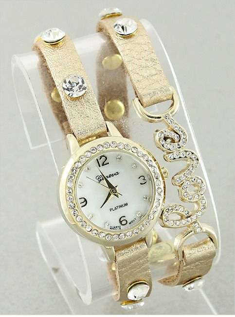 Gold Crystal Love Bracelet Watch from P.S. I Love You More Boutique. shop online at: psiloveyoumore.storenvy.com