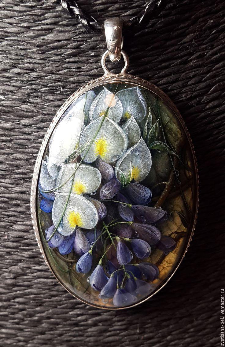 Купить Глициния (отложено) - комбинированный, лаковая миниатюра, лаконичное украшение, кулон в серебре