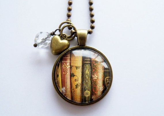 Book Necklace  Book Jewelry  Librarian Pendant  Gift For