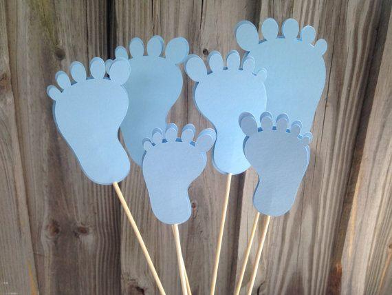 6 piezas de pies de bebé azul Baby Shower por PinkPaperPalooza