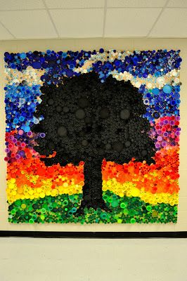 bottle cap mural: Don;t know if it has to be a tree but just like the idea of the colors and the textured look from the caps!