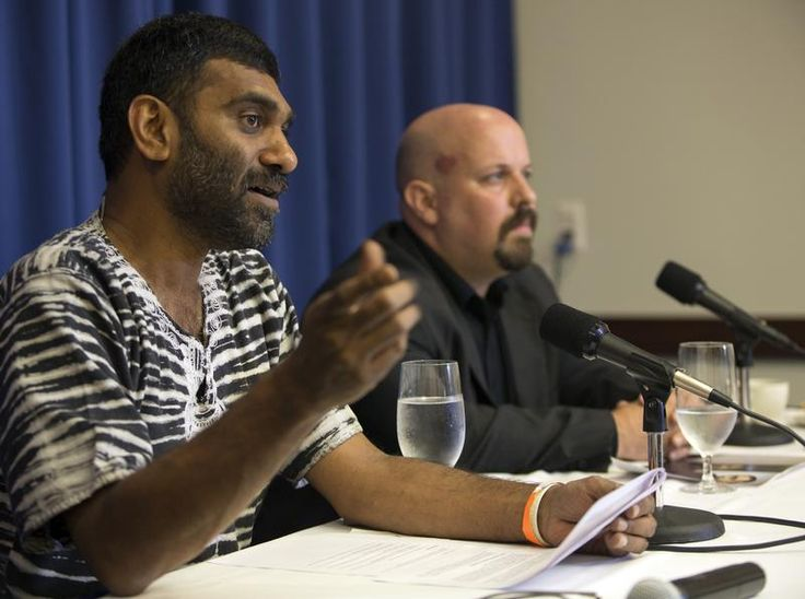 Arctic Sunrise Press Conference In Washington. Greenpeace International Executive Director Kumi Naidoo, left, and Greenpeace USA Executive Director Phil Radford hold a media briefing on the latest updates on the seized Greenpeace ship Arctic Sunrise and Captain Peter Willcox at the National Press Club. Photographer: Tim Aubry / Greenpeace