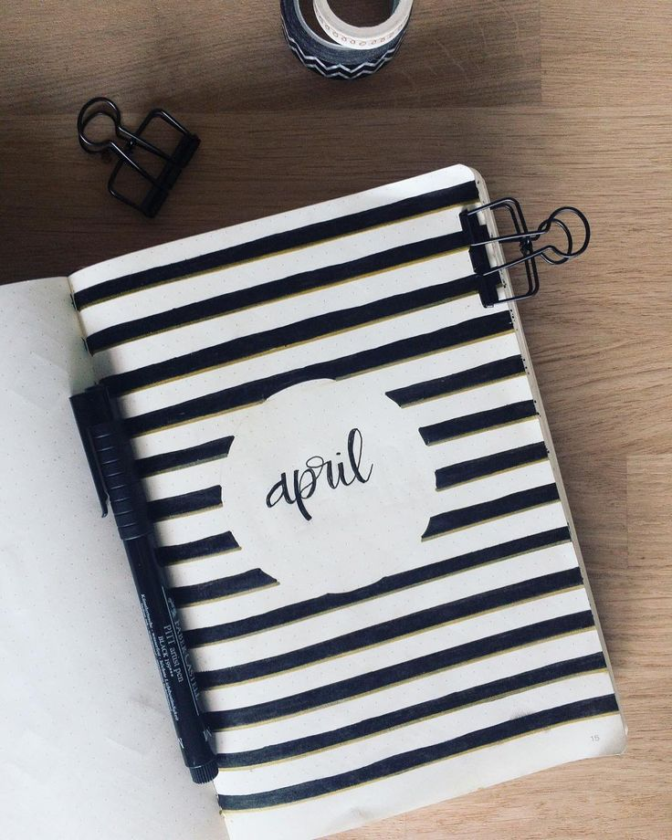 Bullet journal monthly cover page, April cover page, stripes, hand lettering. | @color.bujo